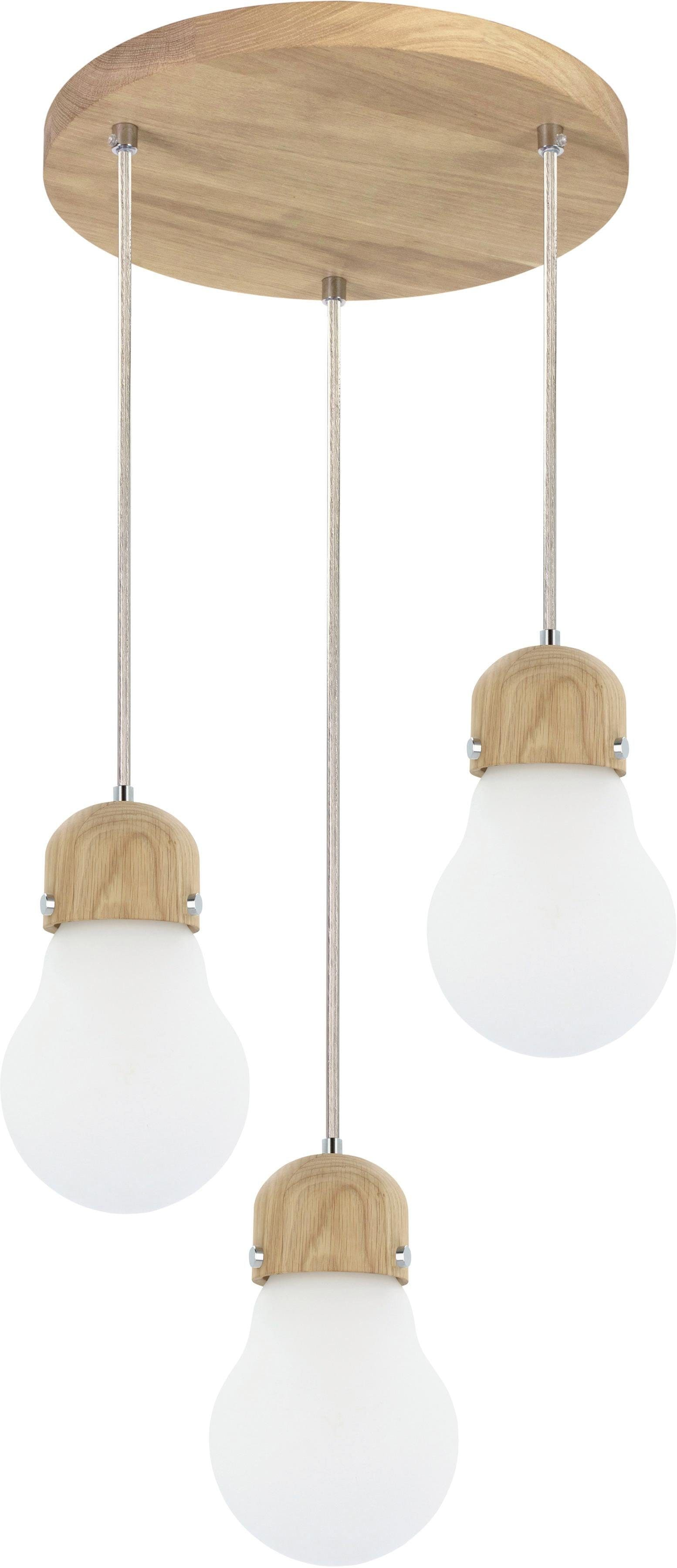 BRITOP LIGHTING Pendelleuchte BULB WOOD, E27, Hängeleuchte, Naturprodukt aus Eichenholz, Nachhaltig mit FSC-Zertifikat, Hochwertiger Schirm aus Glas, Kabel kürzbar, Made in EU