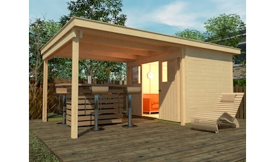 WEKA Set: Gartenhaus »Loungehaus Gr.6«, BxT: 619x336 cm, inkl. Anbaudach und Fußboden kaufen