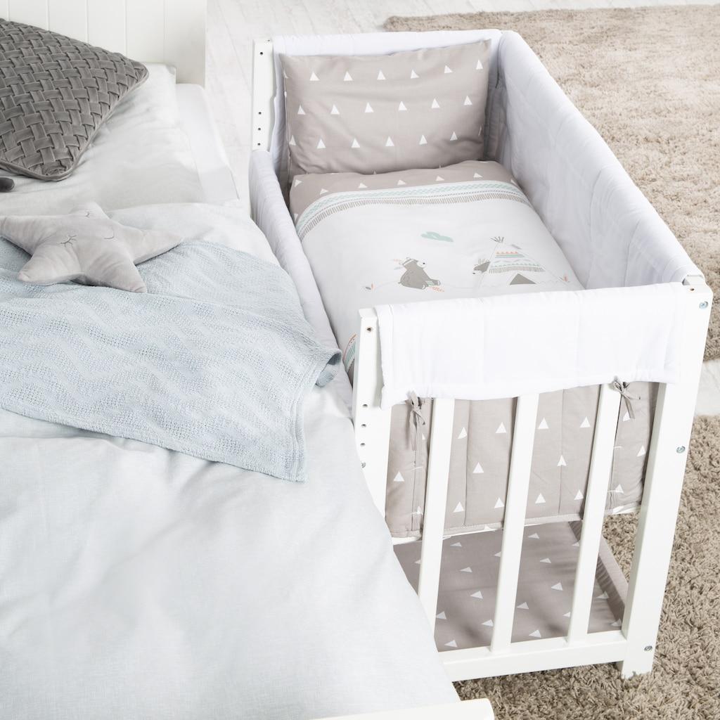 roba® Stubenbett »4 in 1, Indibär, weiß«, zu Wiege, Elternbett oder Bank umbaubar