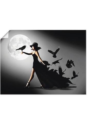 Artland Wandbild »Die Frau mit den Raben«, Animal Fantasy, (1 St.), in vielen Größen &... kaufen