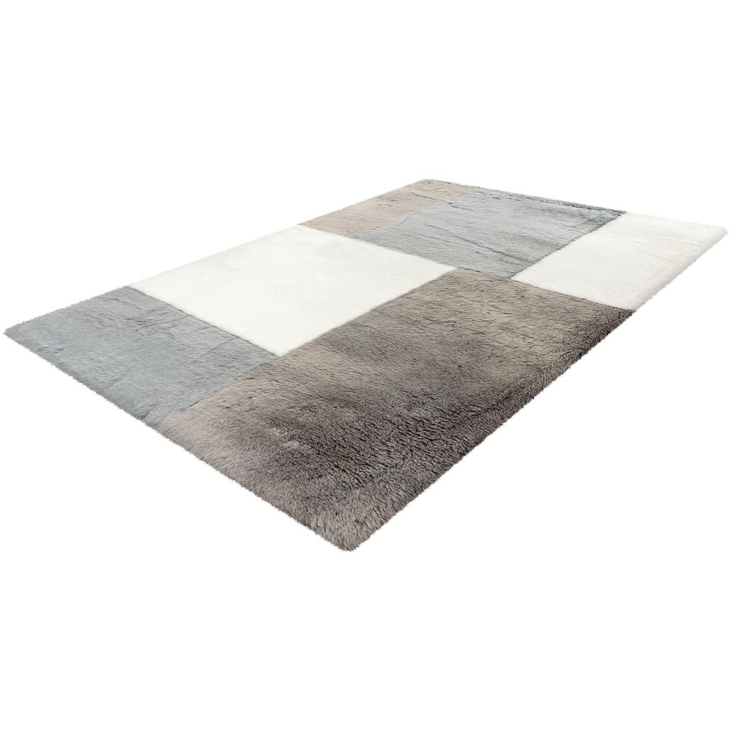 Obsession Fellteppich »My Samba Patch 380«, fellförmig, 35 mm Höhe, Kunstfell, handgetuftet, Patchwork Design, Wohnzimmer