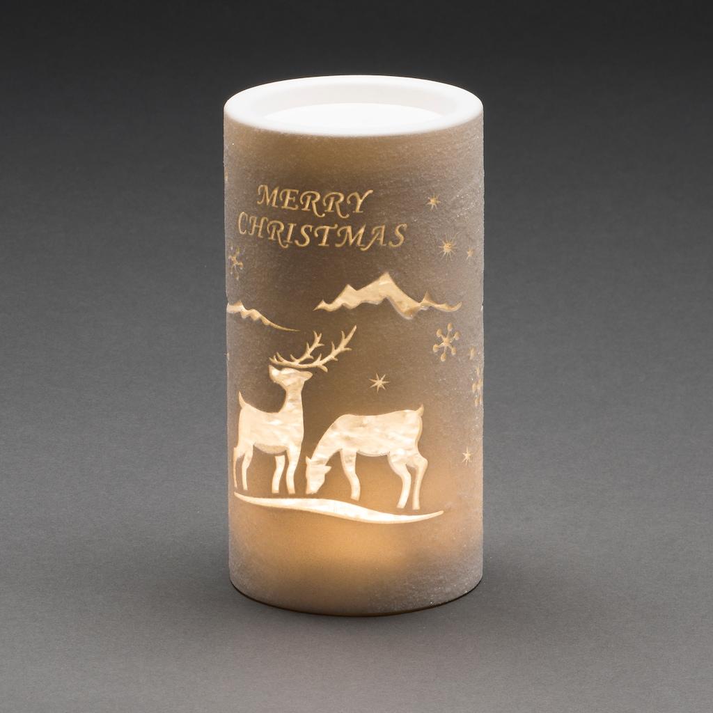 KONSTSMIDE LED Laterne mit Rentier Weihnachtsmann und Schlitten