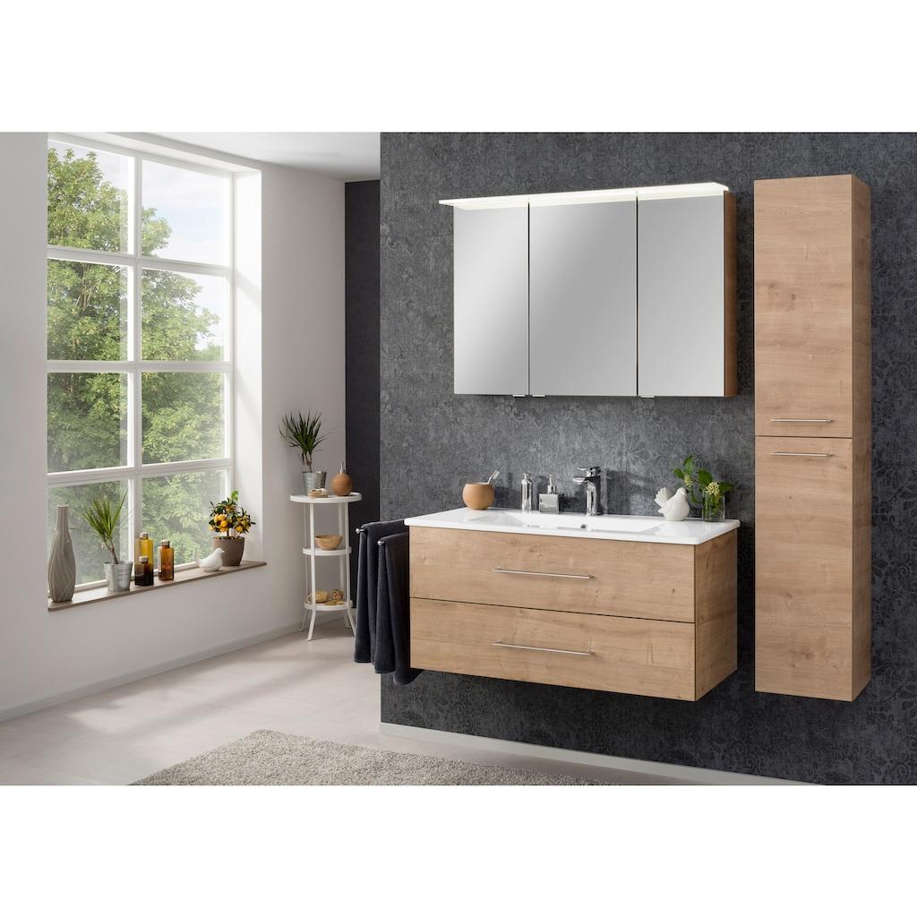FACKELMANN Spiegelschrank »PE 100 - Ast-Eiche«, Badmöbel Breite 100 cm, LED-Badspiegelschrank mit 3 Türen