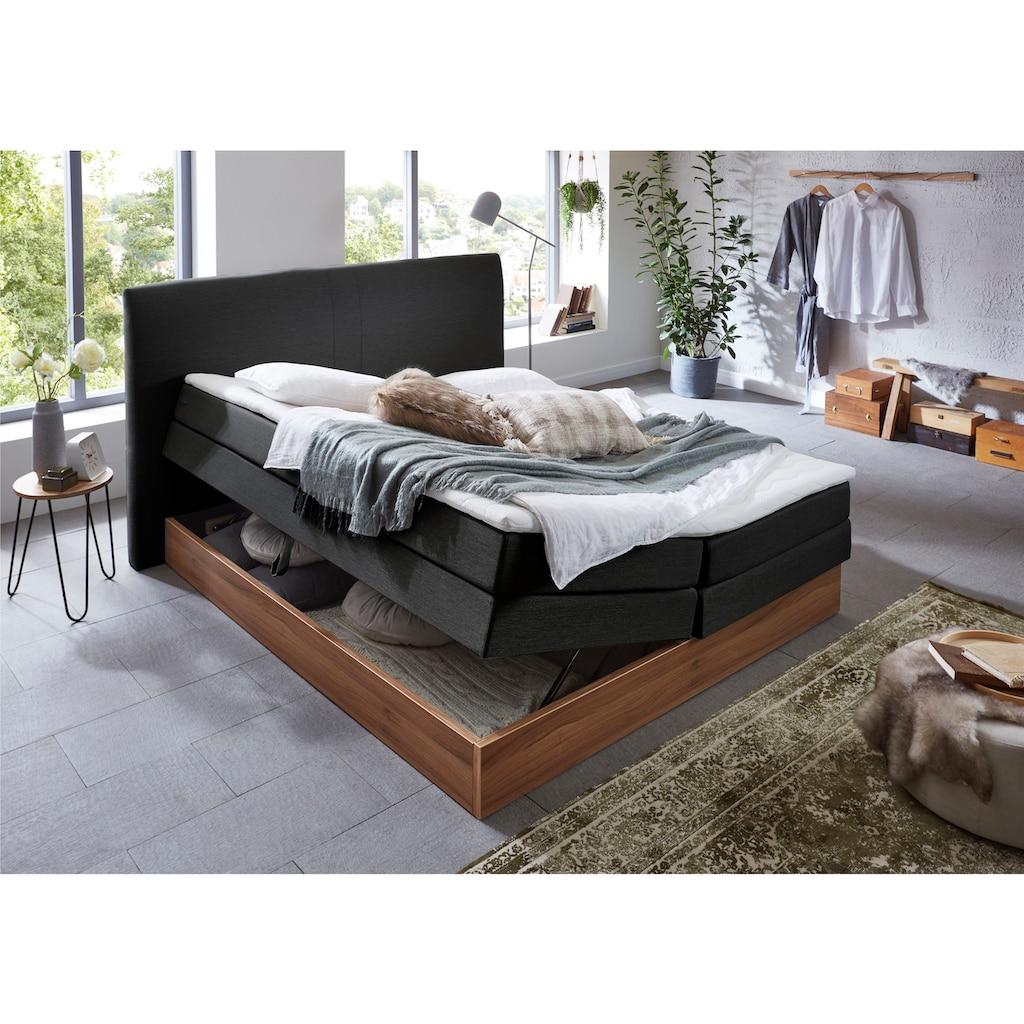 Premium collection by Home affaire Boxspringbett »Blomen«, mit Walnuss-Dekor, mit Bettkasten, verschiedene Härtegrade, mit Topper