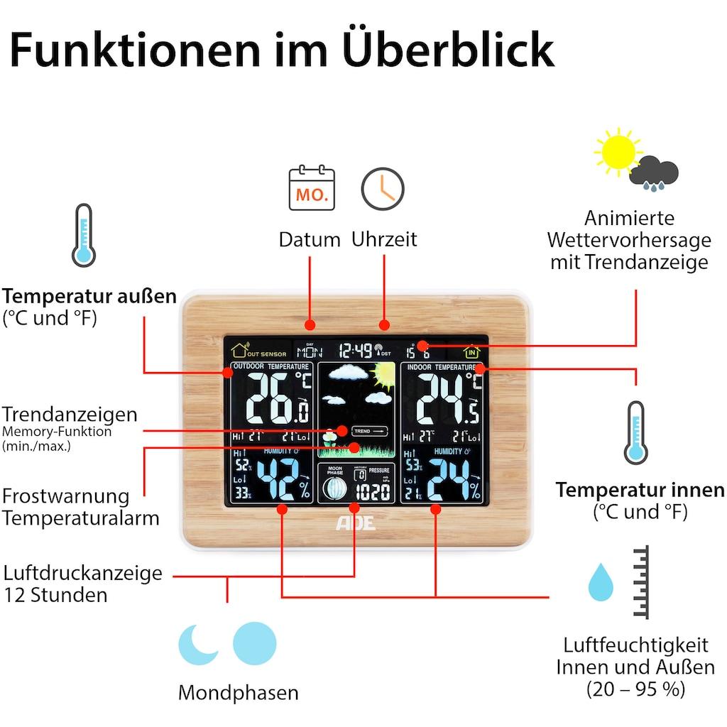 ADE Funkwetterstation »WS 1703«, (mit Außensensor), mit Farbdisplay und Bambus-Rahmen