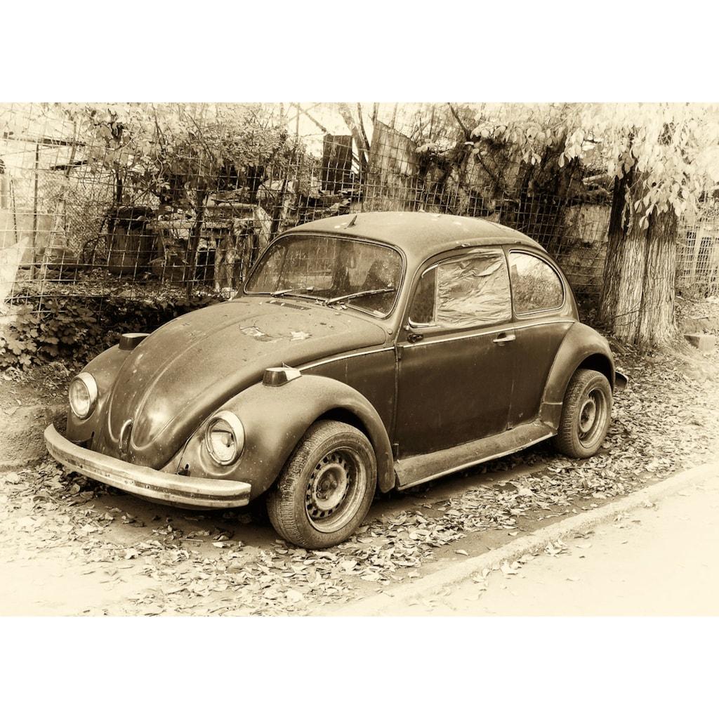 Papermoon Fototapete »Käfer Retro Auto«, Vliestapete, hochwertiger Digitaldruck