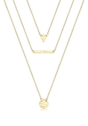 Elli Collierkettchen »Geo Dreieck Kreis Layer gehämmert 925 Silber« kaufen
