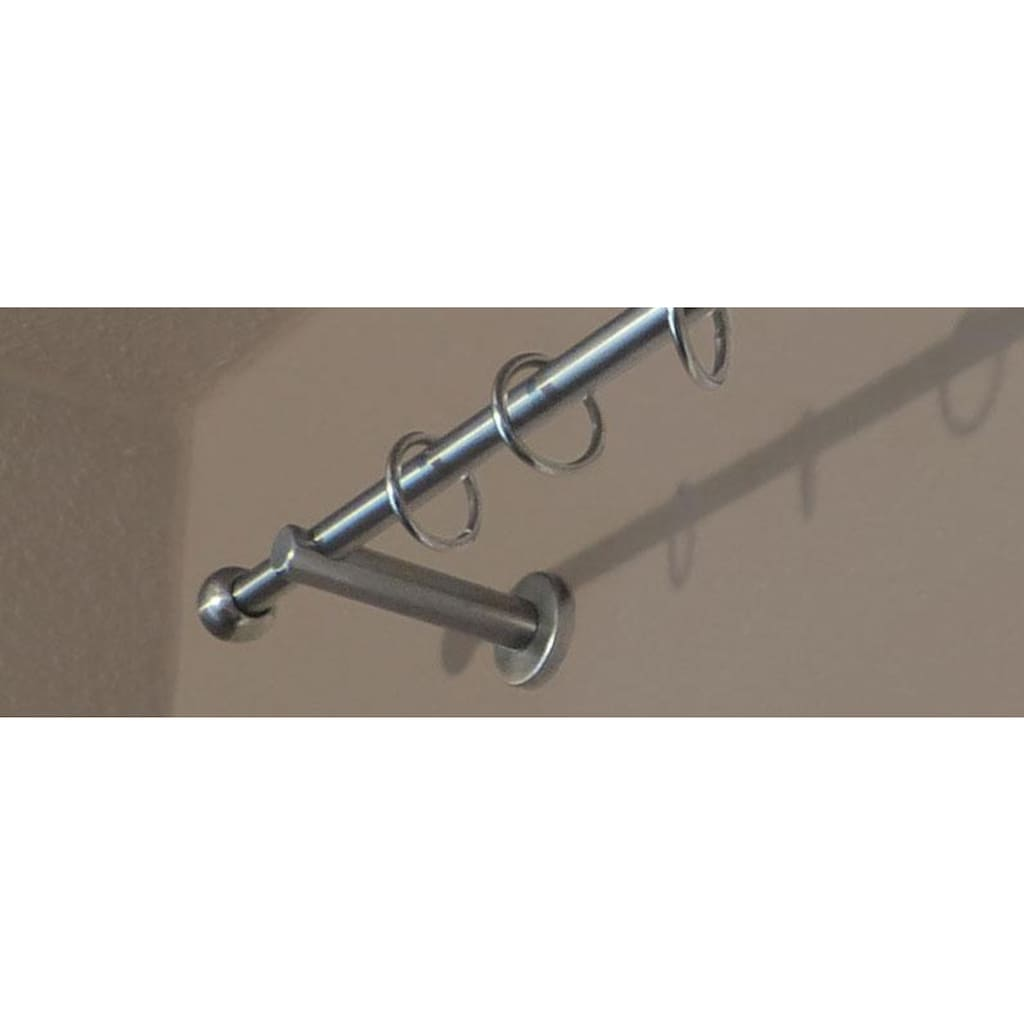 indeko Gardinenstange »Kugel«, 1 läufig-läufig, Wunschmaßlänge, edelstahlfarben