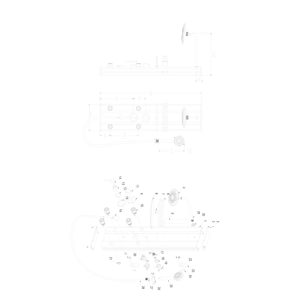 EISL Duschsäule »FEELING«, inkl. Einhebel-Armatur, L/B/T: 100 x 26 x 42 cm