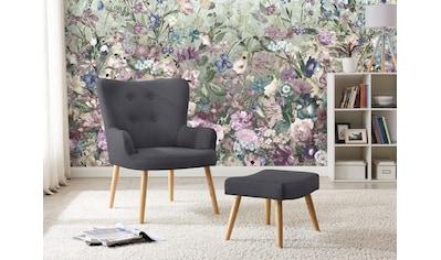 my home Sessel »Levent« im Set mit Hocker, in unterschiedlichen Bezugsqualitäten und Farbvarianten kaufen