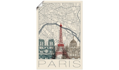 Artland Wandbild »Retro Karte Paris Frankreich und Skyline«, Frankreich, (1 St.), in vielen Größen & Produktarten - Alubild / Outdoorbild für den Außenbereich, Leinwandbild, Poster, Wandaufkleber / Wandtattoo auch für Badezimmer geeignet kaufen