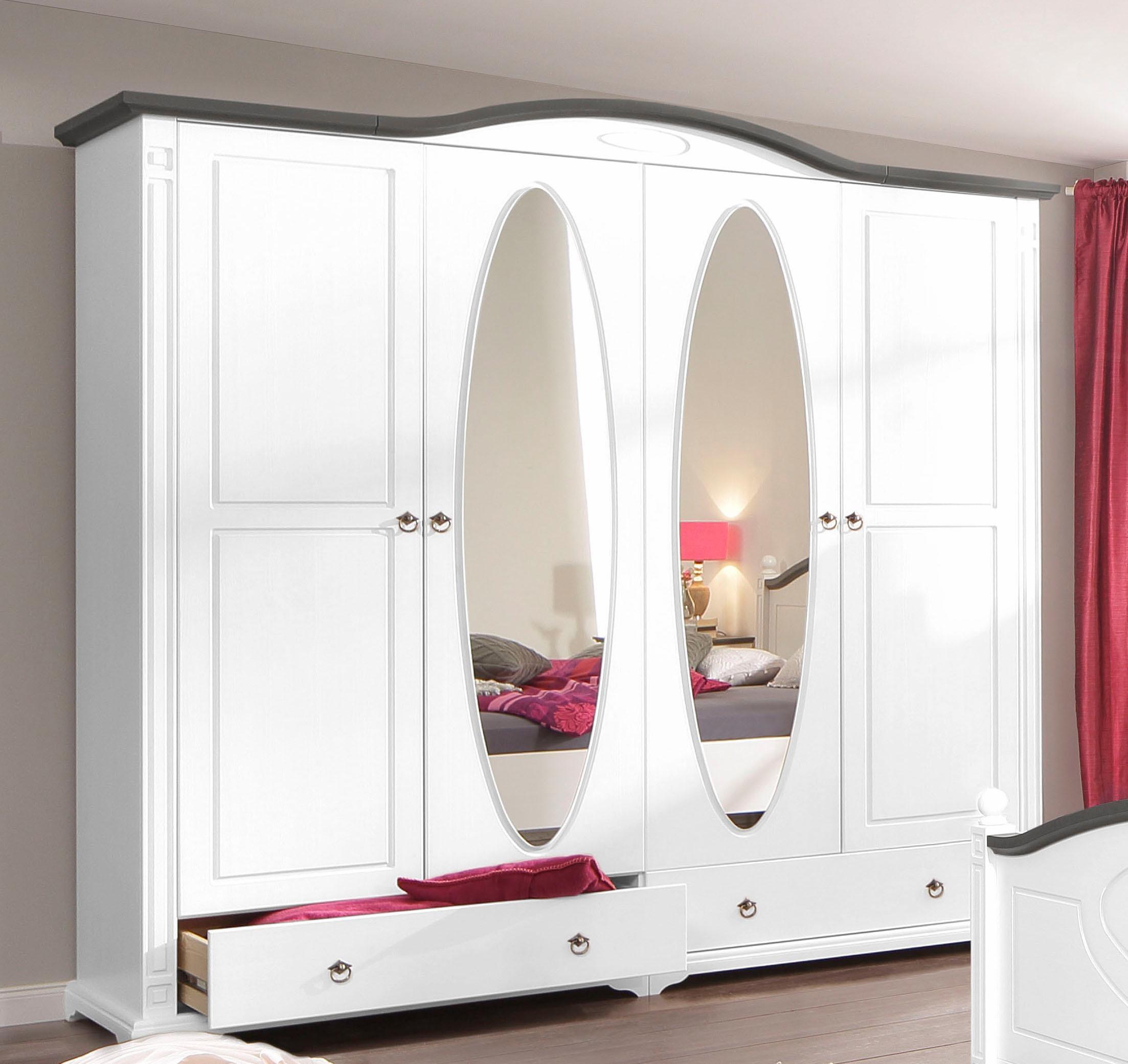 Home affaire Kleiderschrank Mila wahlweise 2- 3- 4- 5- oder 6-türg in 2 Farben ab 3-trg mit Spiegel