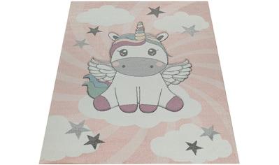 Paco Home Kinderteppich »Cosmo 395«, rechteckig, 18 mm Höhe, Kinder Design, niedliches Einhorn Motiv in Pastell-Farben kaufen