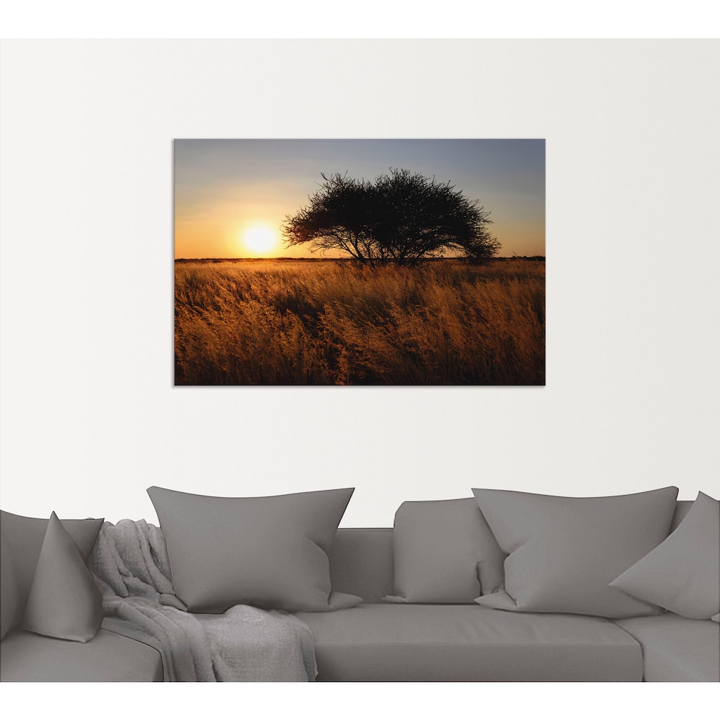 Artland Wandbild »Sonnenuntergang II«, Afrika, (1 St.), in vielen Größen & Produktarten - Alubild / Outdoorbild für den Außenbereich, Leinwandbild, Poster, Wandaufkleber / Wandtattoo auch für Badezimmer geeignet
