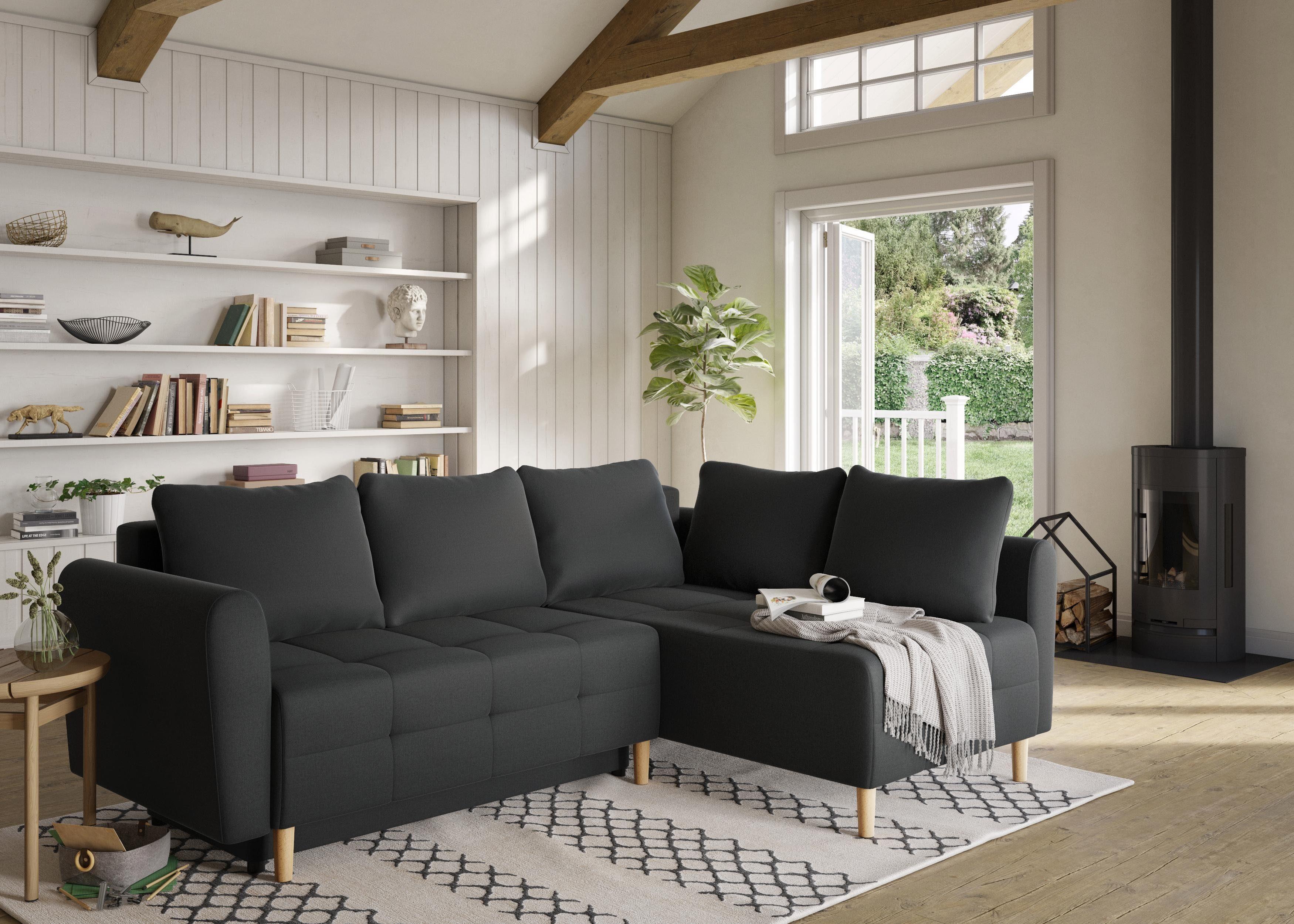Home affaire Ecksofa Nordic mit Bettfunktion und Bettkasten Steppung im Sitzbereich