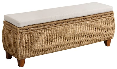 Home affaire Truhenbank »Larkson«, aus Wasserhyazinthe, inklusive Sitzkissen, einem aufklappbaren Deckel und einem stoffbezogenen Innenfach kaufen