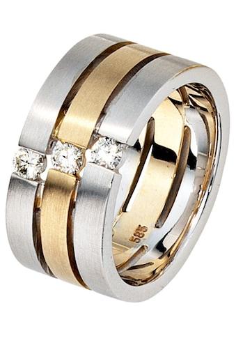 JOBO Diamantring, breit 585 Gold bicolor mit 3 Diamanten kaufen
