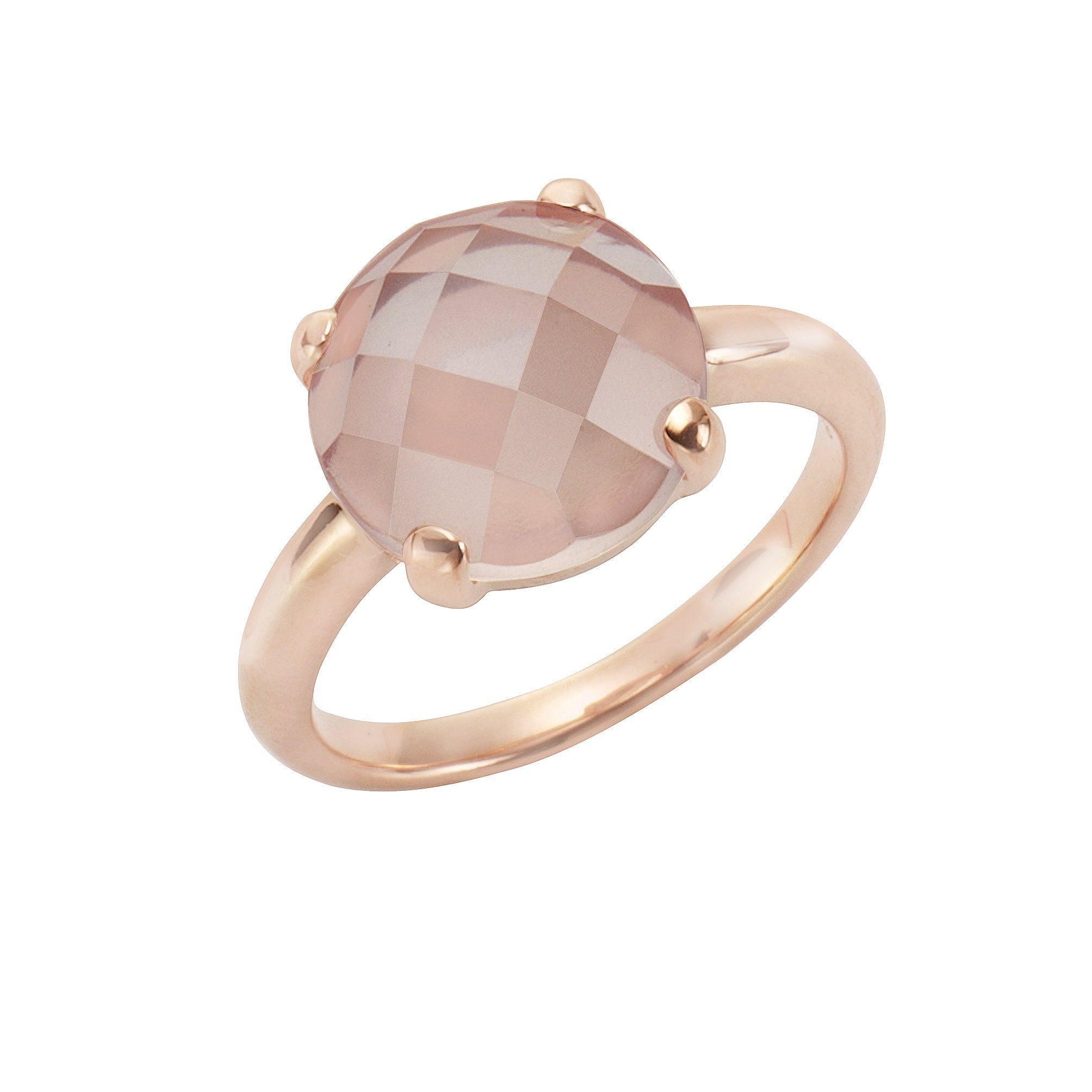 Jamelli Ring 925/- Sterling Silber rotvergoldet Rosenquarz | Schmuck > Ringe > Silberringe | Jamelli