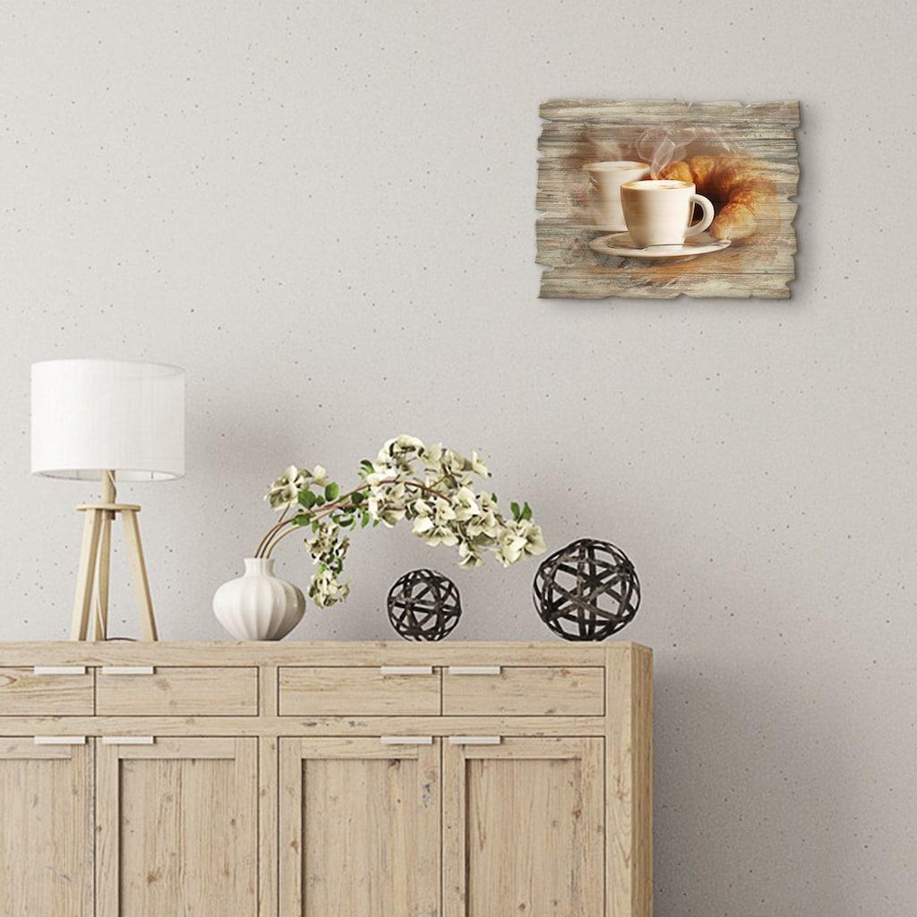 Artland Holzbild »Dampfender Cappuccino und Croissant«, Getränke, (1 St.)