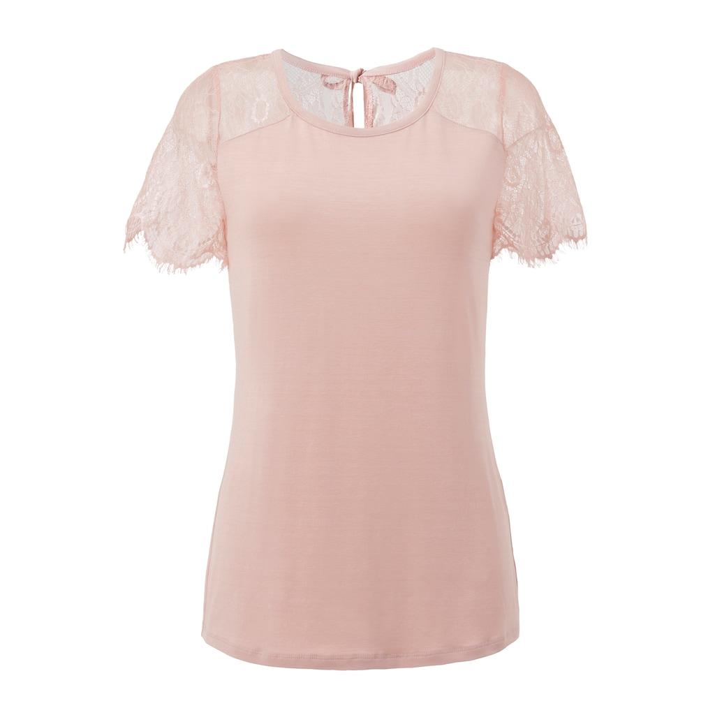 Aniston SELECTED Spitzenshirt, mit Bindeband im Nacken