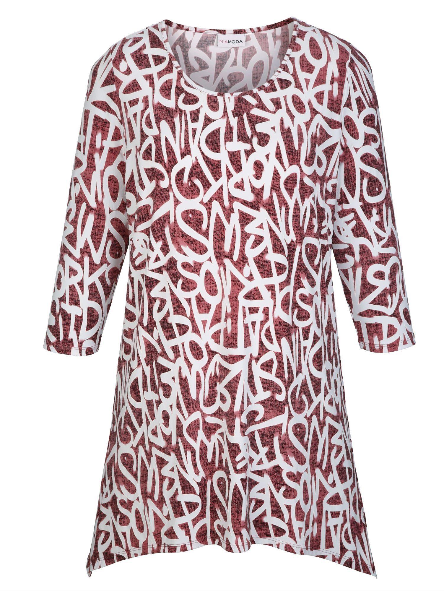 MIAMODA Zipfelshirt mit strukturiertem Druckmuster | Bekleidung > Shirts > Zipfelshirts | Rosa | Polyester | MIAMODA