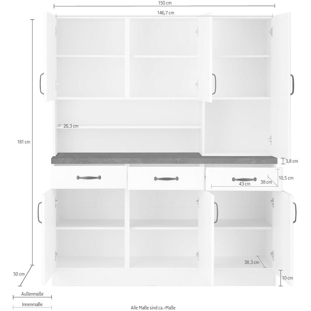 wiho Küchen Küchenbuffet »Erla«, 150 cm breit mit Kassettenfront