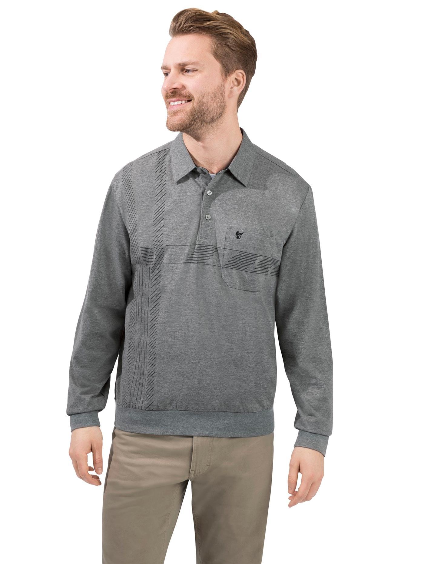 Langarm-Poloshirt grau Herren Langarm Shirts Poloshirts