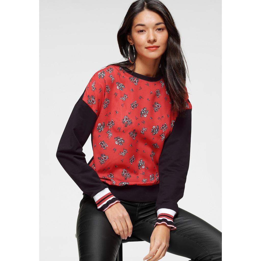 AJC Sweatshirt, Vorderteil aus bedrucktem Crepe und extravagantem Ärmelabschluss