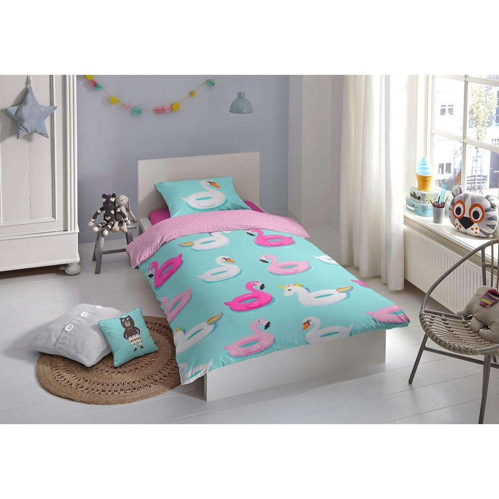 good morning Kinderbettwäsche »Beach«, mit Flamingos