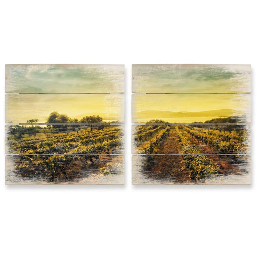 Wall-Art Mehrteilige Bilder »Weinreben im Sonnenuntergang«, (Set, 2 St.)