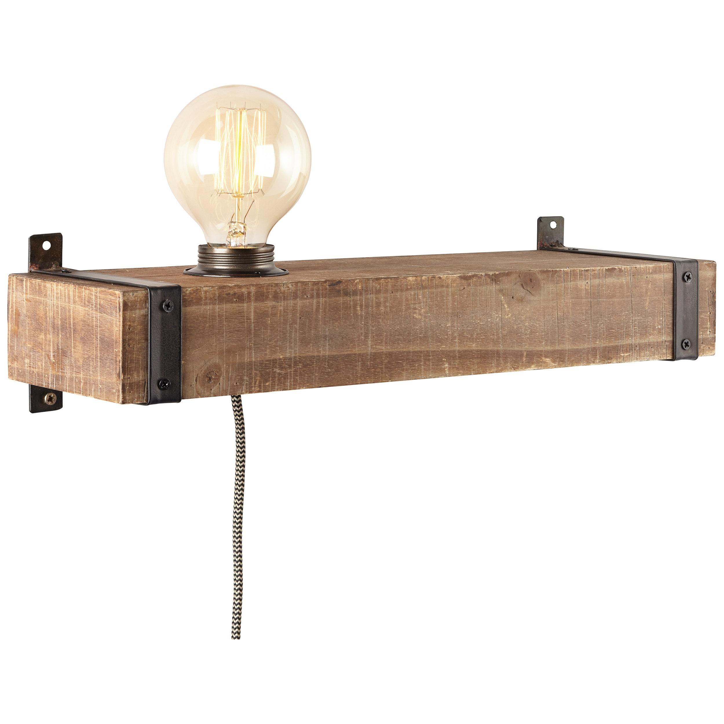Brilliant Leuchten Woodhill Wandleuchte mit Zuleitung und Schalter antik/schwarz