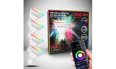 B.K.Licht LED-Leuchtmittel, GU10, 4 St., Farbwechsler, Smart Home LED-Lampe RGB WiFi App-Steuerung dimmbar CCT Glühbirne 5,5W 350 Lumen kaufen