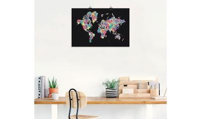 Artland Wandbild »POP ART Weltkarte schwarz«, Landkarten, (1 St.), in vielen Größen & Produktarten - Alubild / Outdoorbild für den Außenbereich, Leinwandbild, Poster, Wandaufkleber / Wandtattoo auch für Badezimmer geeignet kaufen