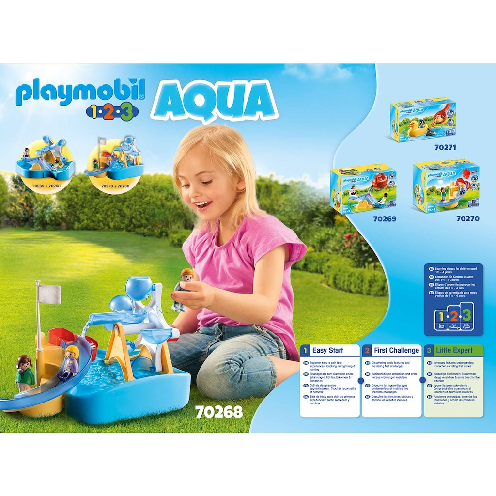 Playmobil® Konstruktions-Spielset »Wasserrad mit Karussell (70268), Playmobil 123 - Aqua«, ; Made in Germany