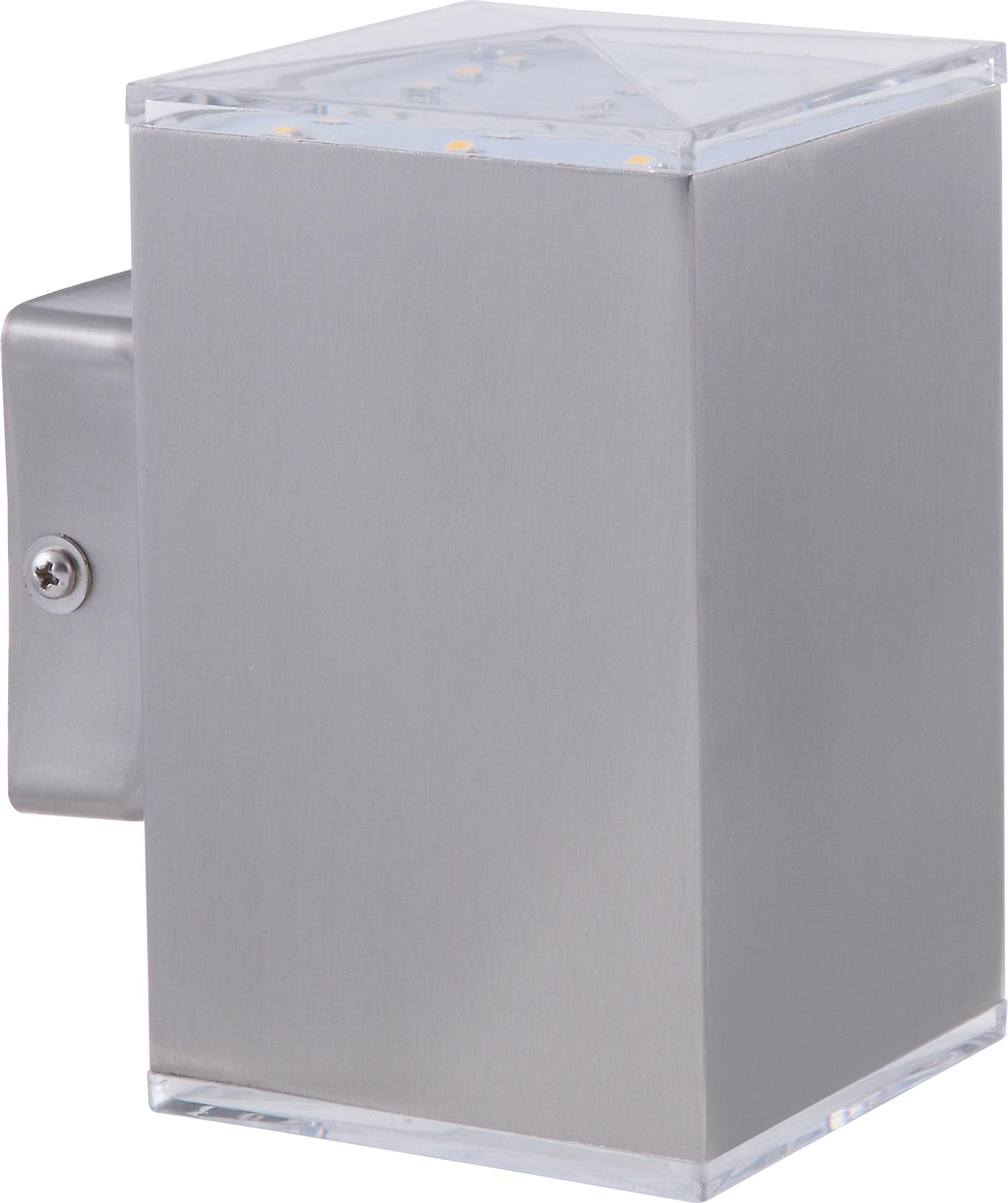 HEITRONIC LED Wandleuchte Kubus, LED-Modul, 1 St., Warmweiß, Robustes Edelstahlgehäuse