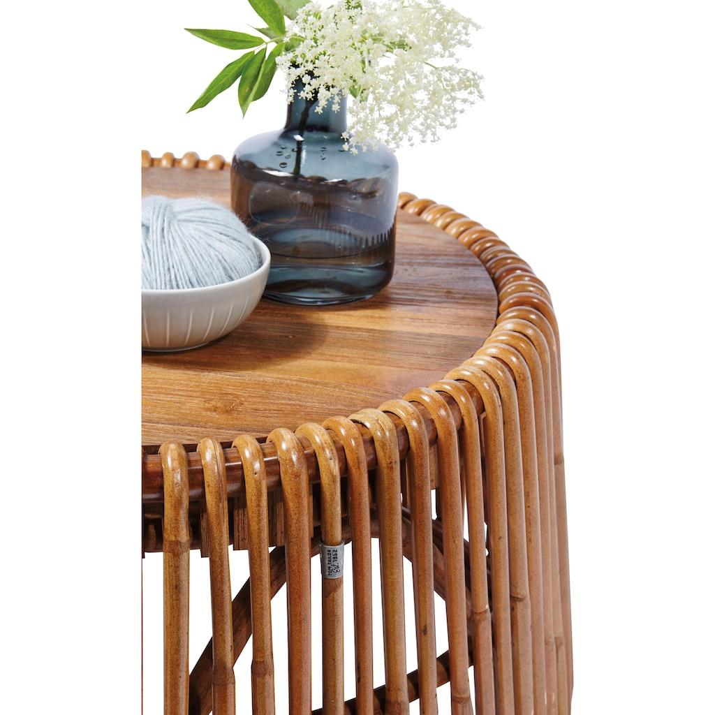 TOM TAILOR Beistelltisch »T-RATTEM SIDE TABLE LARGE«, großer Beistelltisch aus Rattan mit Platte aus recycletem Teakholz