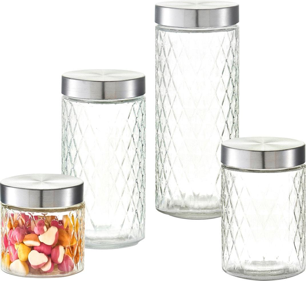 Zeller Present Vorratsglas Raute, (Set, 4 tlg.) farblos Aufbewahrung Küchenhelfer Haushaltswaren 248526
