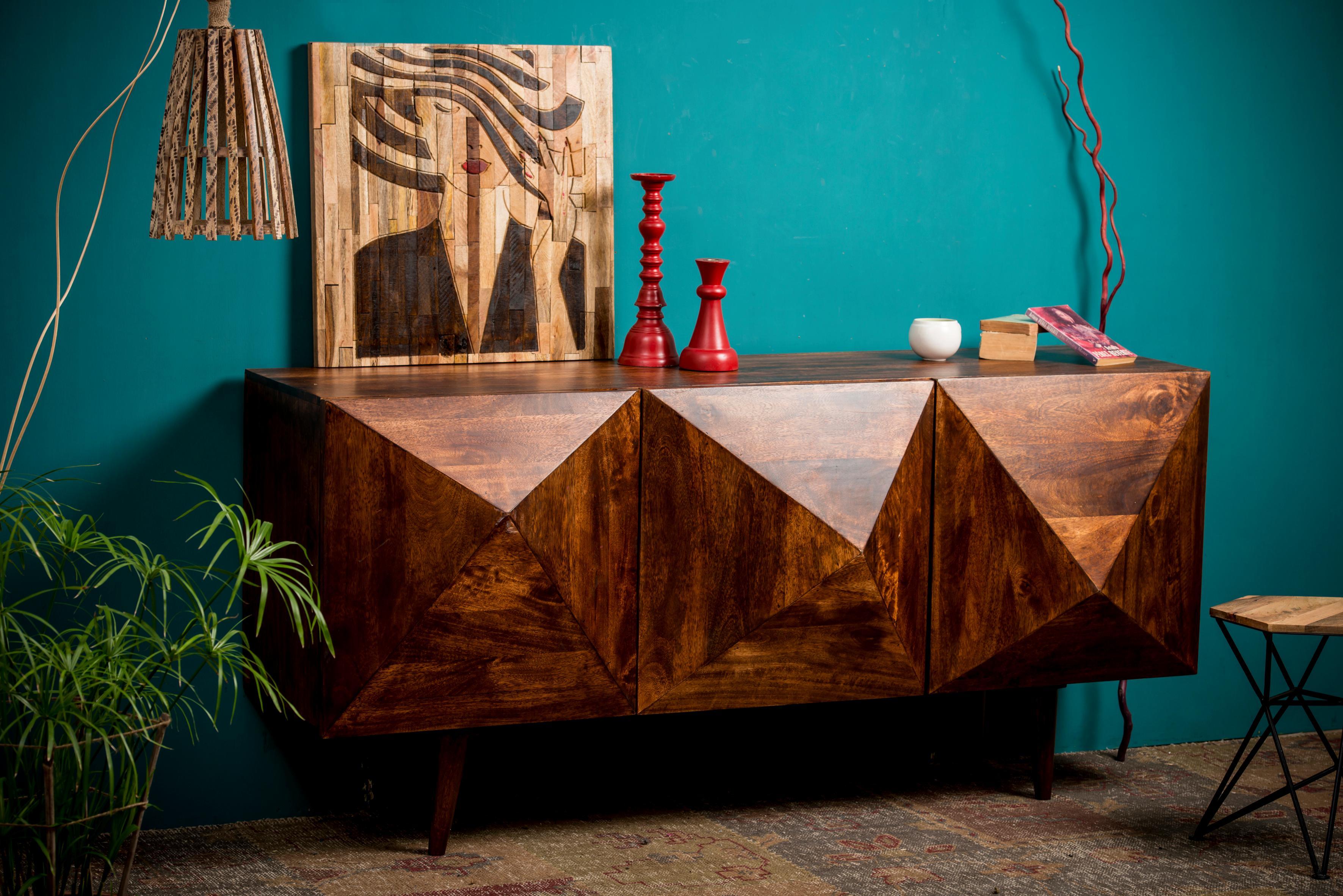 Home Affaire Sideboard Violet Diamond mit Diamantstruktur aus massivem Mangoholz Breite 180 cm