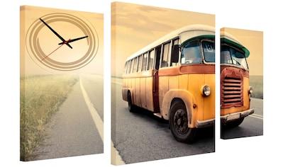Conni Oberkircher´s Bild »Retro Bus«, Busse, (Set), mit dekorativer Uhr kaufen