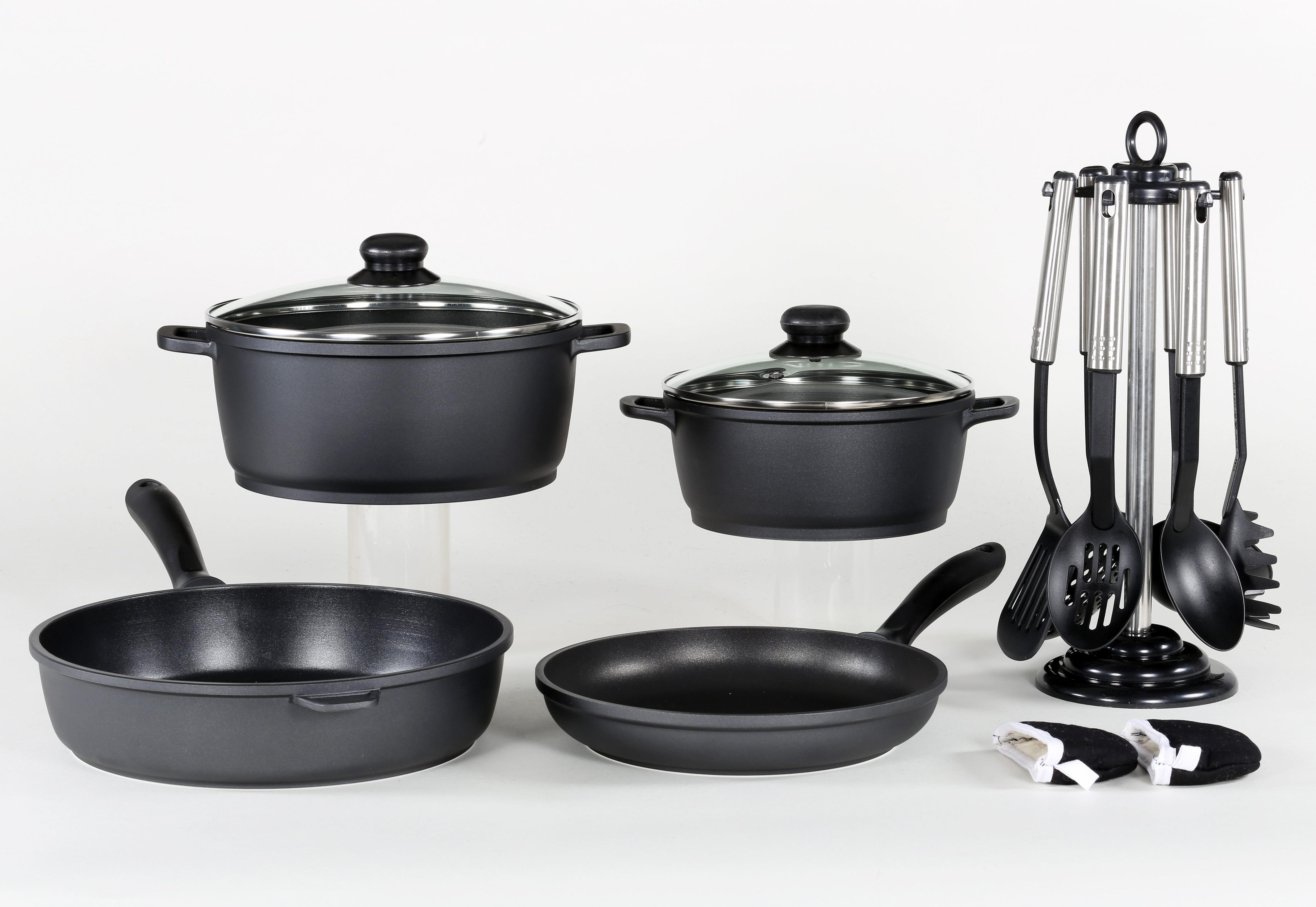 Krüger Pfannen-Set, Aluminiumguss, (Set, 13 tlg.) schwarz Pfannen-Set Topfsets Töpfe Haushaltswaren