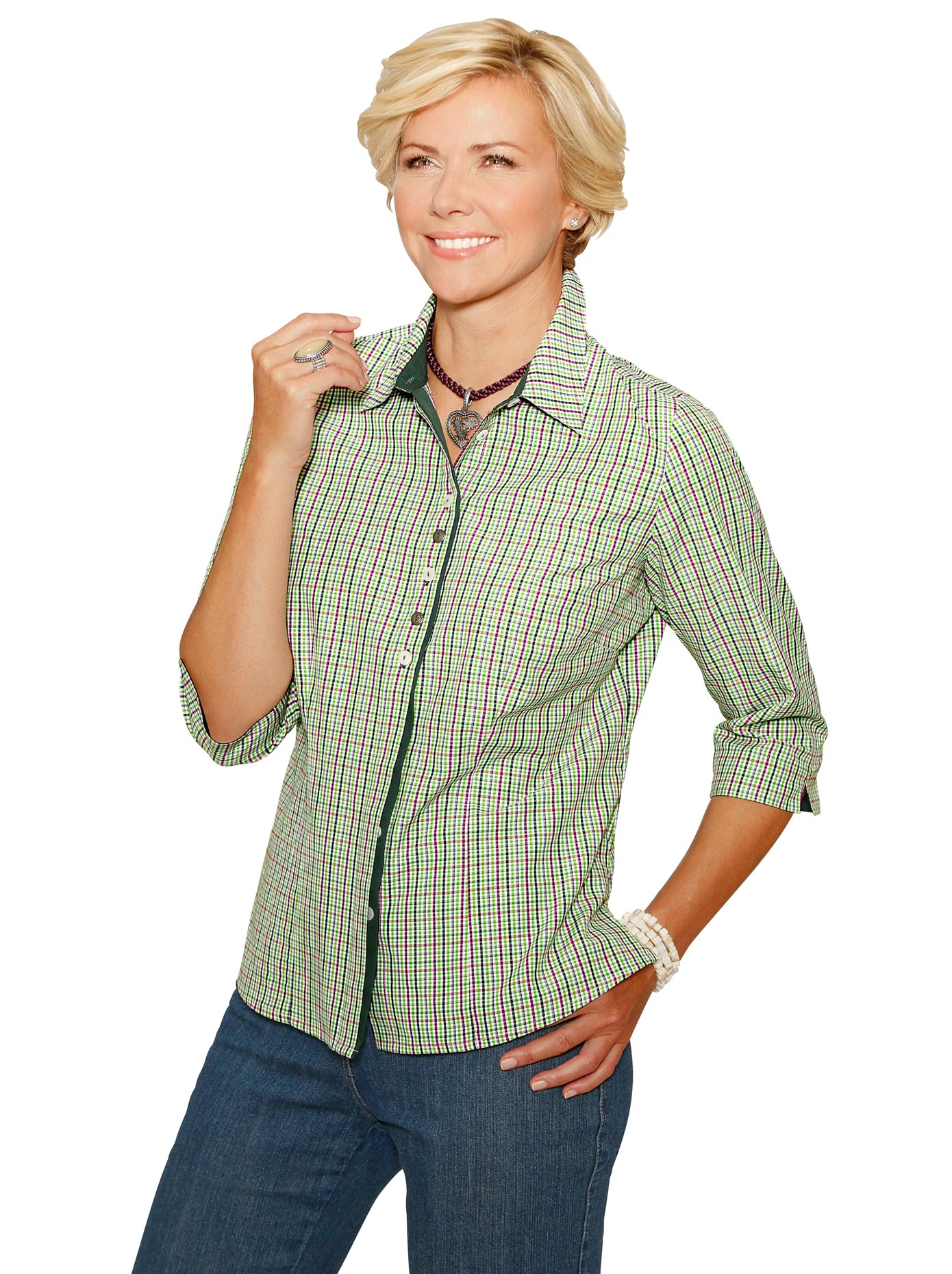 Classic Bluse im attraktiven Webkaro-Dessin