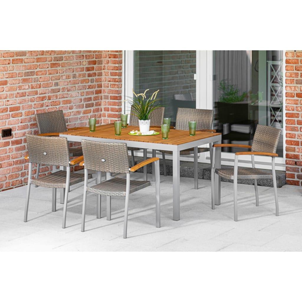 MERXX Gartenmöbelset »Silano«, (7 tlg.), 6 Stapelsessel mit Armlehnen, Tisch, Akazienholz/Aluminiumgestell