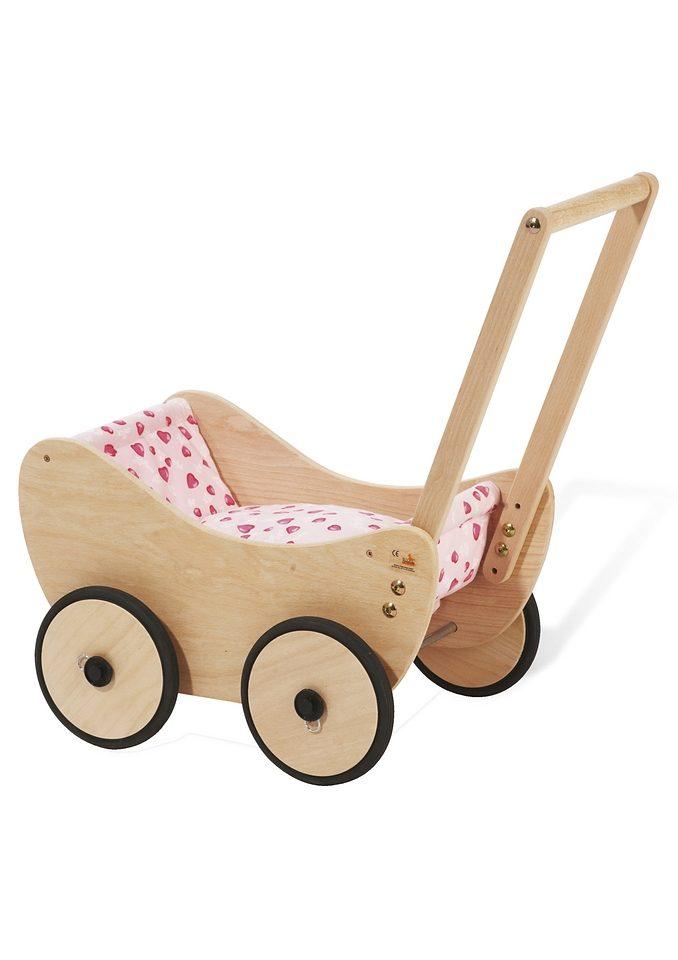 Pinolino Puppenwagen Trixi - Herzchen, aus Holz mit Bettzeug; Made in Europe beige Kinder Puppenzubehör Puppen