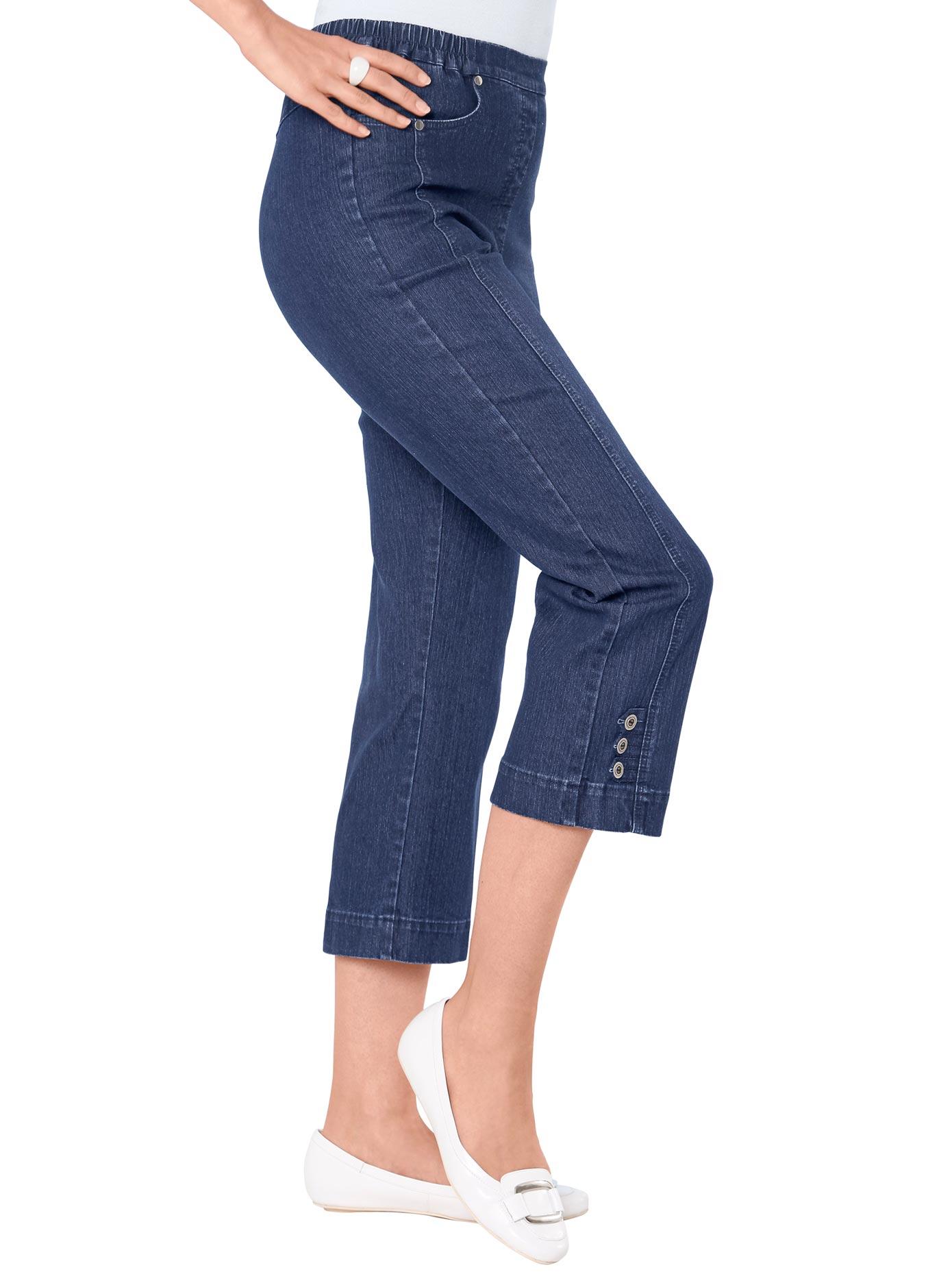Classic Basics 7/8-Jeans mit Dekoschlaufen und Zierknöpfe am Beinabschluss | Bekleidung > Jeans > 7/8-Jeans | Classic Basics