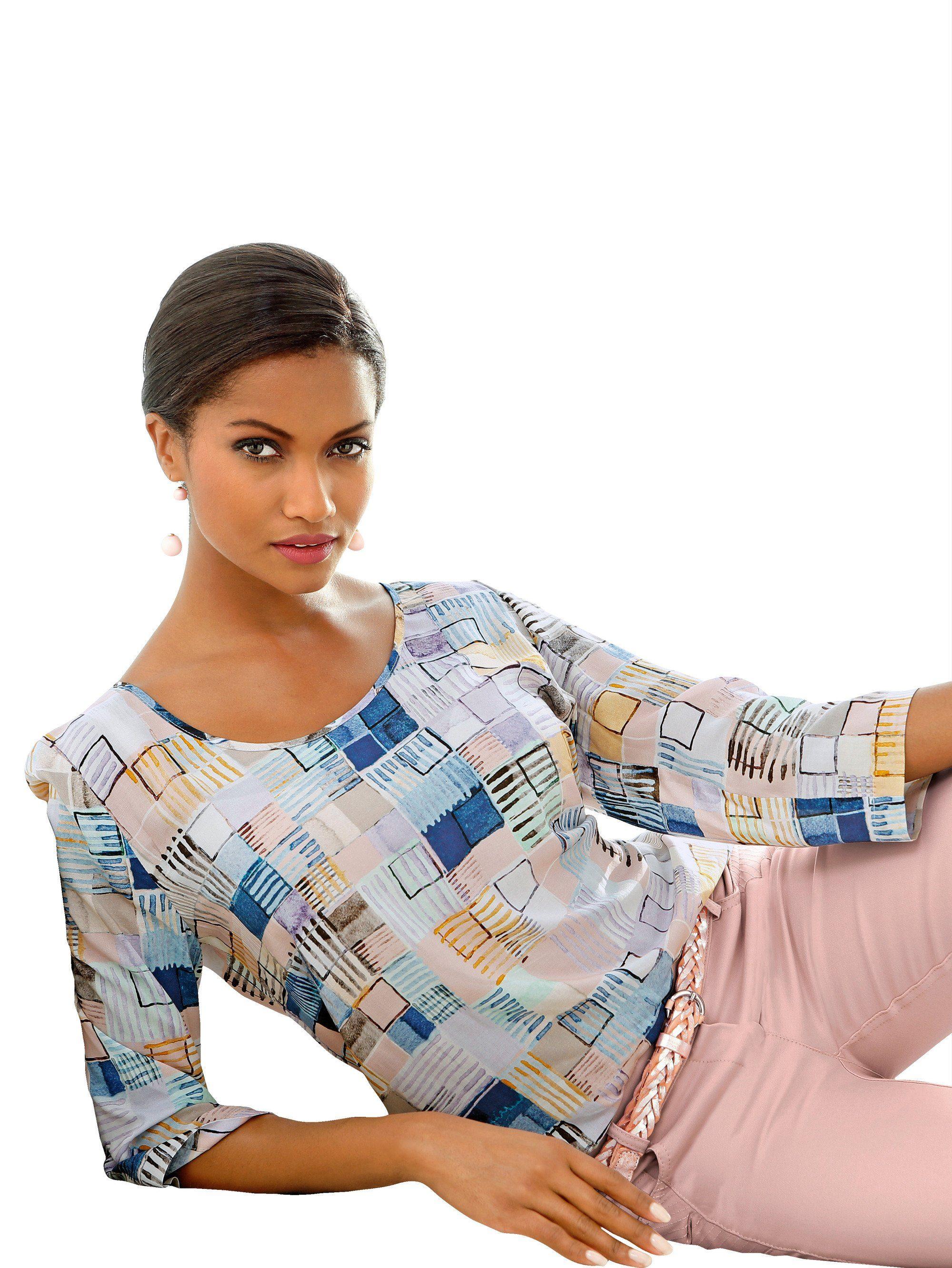 Alba Moda Druckbluse mit wunderschönem, grafsichem Print