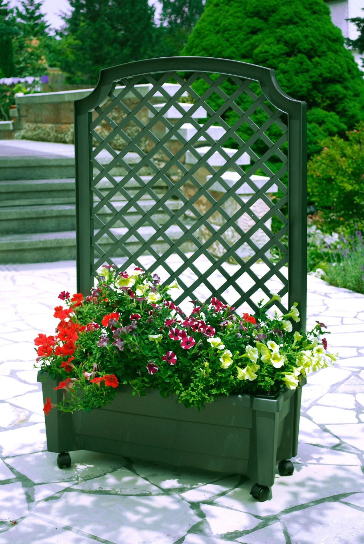 KHW Spalier, mit Pflanzkasten, BxTxH: 79x35x134 cm grün Spaliere Gartendekoration Gartenmöbel Gartendeko Spalier
