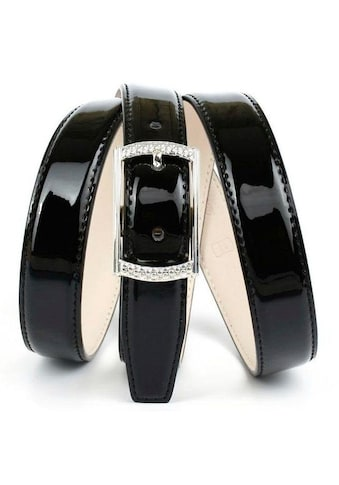 Anthoni Crown Ledergürtel, Schmaler Lackledergürtel, helle Rückseite kaufen