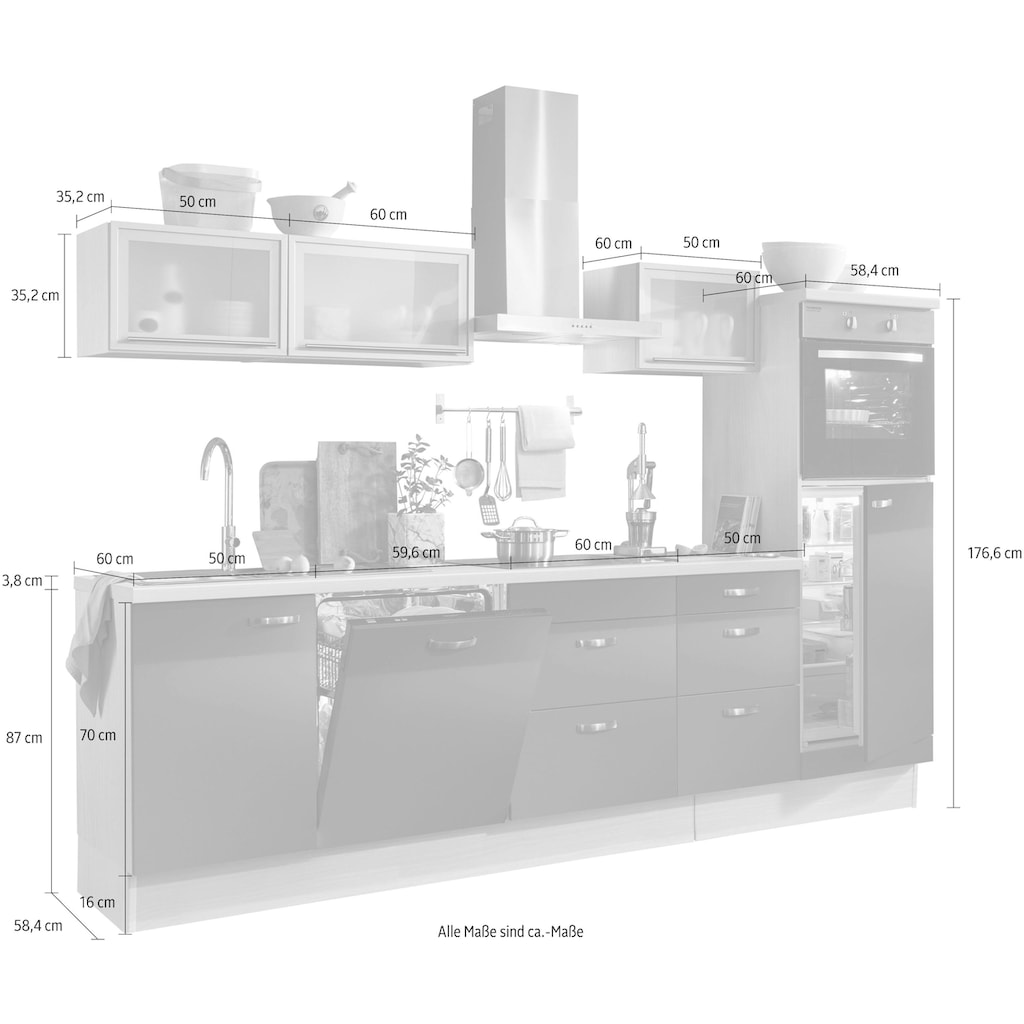OPTIFIT Küchenzeile »Cara«, ohne E-Geräte, mit Vollauszügen und Soft-Close-Funktion, Breite 280 cm