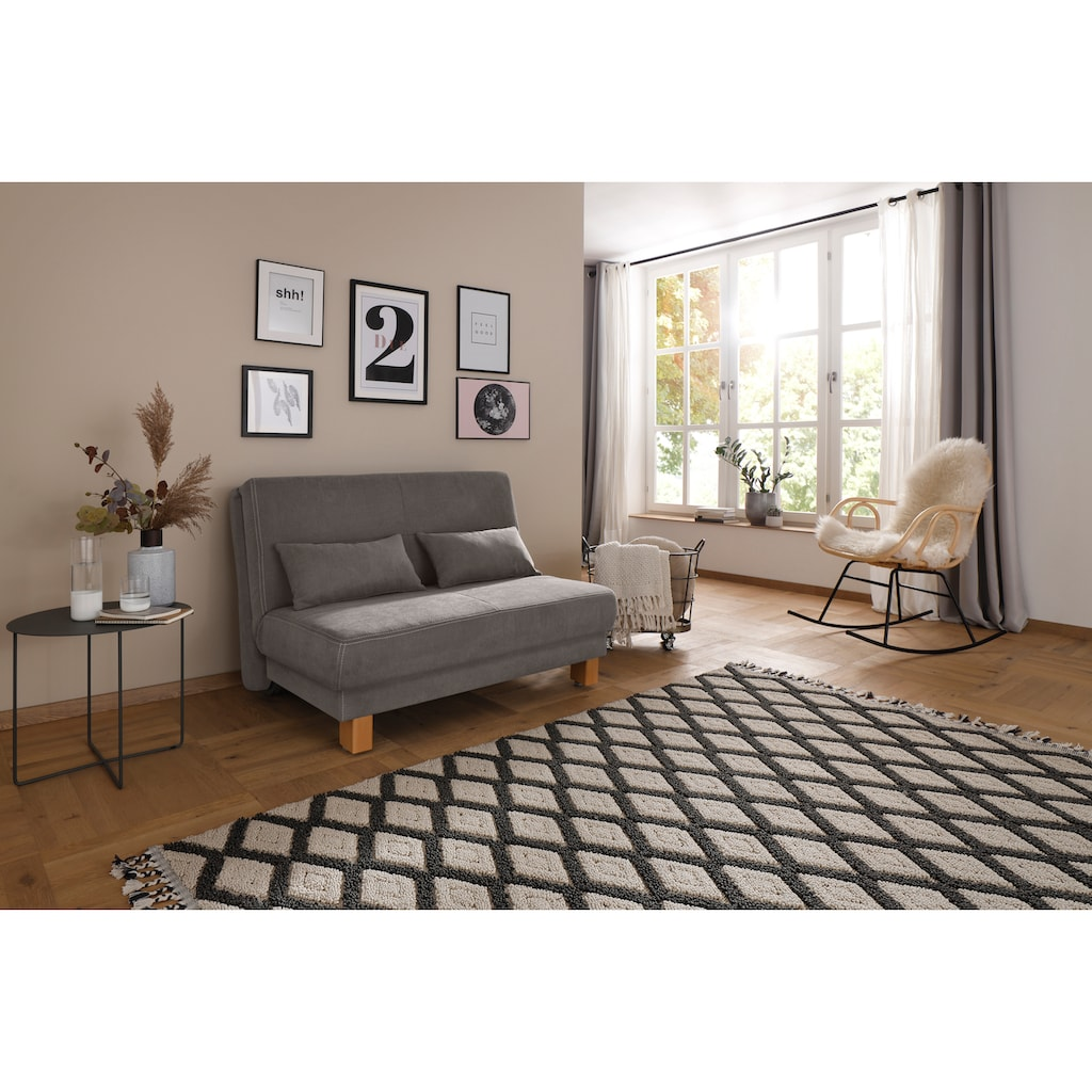Home affaire Schlafsofa »Luisant«, vom Sofa zum Bett mit einem Handgriff, in 4 Breiten, Inkl. Nierenkissen