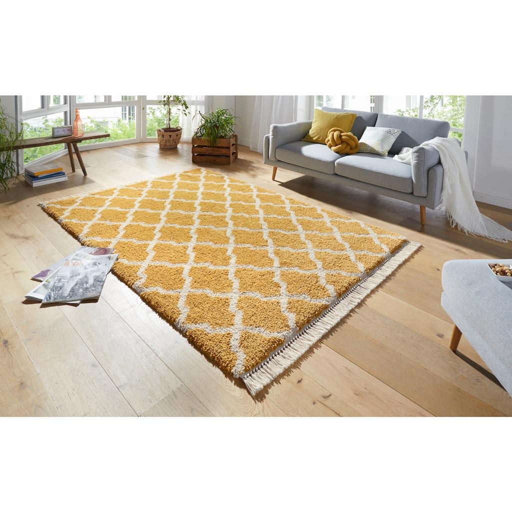 MINT RUGS Hochflor-Teppich »Pearl«, rechteckig, 35 mm Höhe, pastell Farben mit Fransen, Wohnzimmer